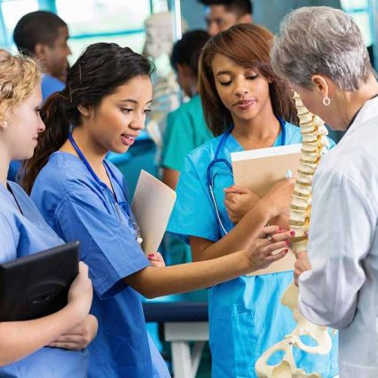 Medical school professor using model to teach nursing students